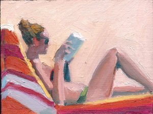 Beach Reader with Striped Towel