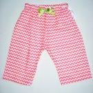 CORAL CHEVRON GRN RIBBON Handmade Infant/Toddler Pants 6-12MO