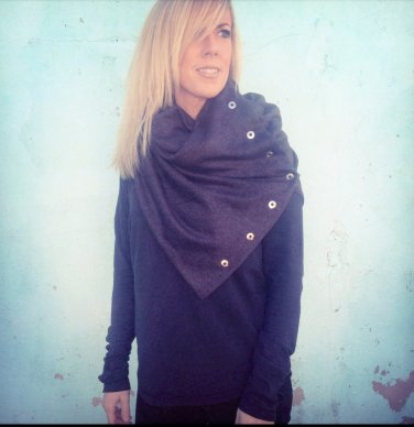 SOLD OUT- Multiplicity Snap Scarf- Charcoal with Circle Silver Snaps