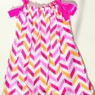 PNK ORG CHEVRON Handmade Infant/Toddler Dress/Blouse 2-3T