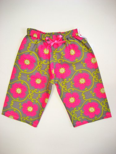 BRIGHT PNK GRY FLWR PNK RIBBON Handmade Infant/Toddler Lounge Pants 6-12MO
