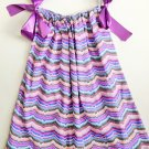 PURPLE MULTI CHEVRON Handmade Infant/Toddler Dress       3-4T