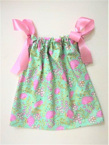 GREEN PINK FLOWER Handmade Infant/Toddler Dress/Blouse    18-24MO