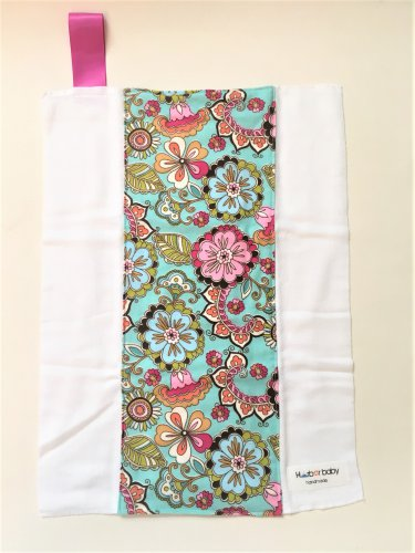 TEAL FLOWER- Handmade Burp Cloth/Cloth Diaper