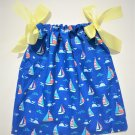 SAILBOAT with YELLOW Ribbon Handmade Infant/Toddler Dress/Blouse    6-12MO