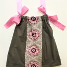 CORDUROY GREY PINK MEDALLION Handmade Infant/Toddler Dress/Blouse     Size: 6-12MO