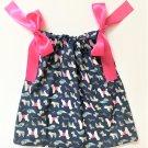 DOG DAYS Pink Ribbon Handmade Infant/Toddler Dress/Blouse    Size:12-18MO
