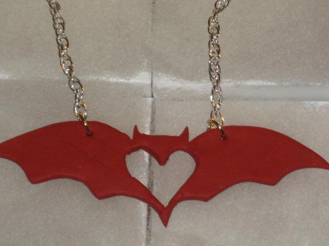 "18"" Red Glitter Bat Necklace"