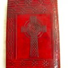 5.5x8 Handmade Leather Journal diary Celtic Cross Book of Shadow wicca eco paper