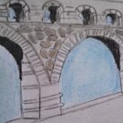 "ACEO original art trading card ""Bridge"""