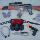 AK47 Combat Mission Playset: AK47 Toy Gun, Gas Mask, Pistol, Knife, H/C, Grenade Slices