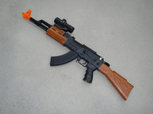 "AK47 Toy Assault Rifle 32"" Realistic Detailing Lights, Sounds + FREE Handcuffs"