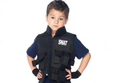 Kids SWAT Commander Tactical Vest, Fingerless Gloves + FREE Handcuffs