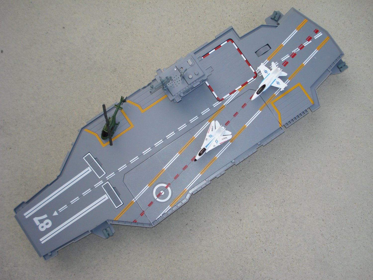 "Toy Aircraft Carrier Huge 30"" Navy Warship 3 Planes, Sounds"