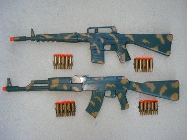 Army Dart Gun Combo 1: M-16 Camo Dart Gun Rifle + AK-47 Camo Dart Gun Rifle + FREE Grenade
