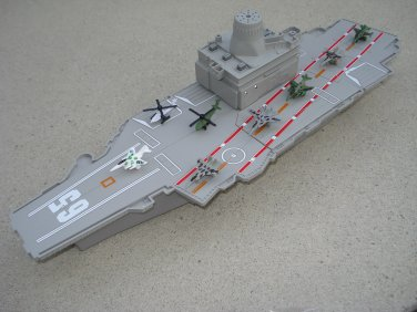"Toy Aircraft Carrier 18"" with 6 Fighter Jets, 2 Helicopters, 3 Sounds, Control Tower, Storage"