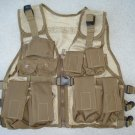 Kids Tactical Combat Vest Army Tan 9 Pockets Adjustable