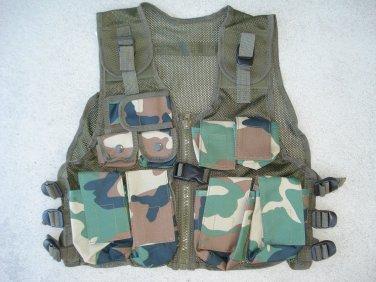 Kids Tactical Combat Vest Woodland Camo 9 Pockets Adjustable