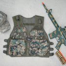 Kids Tactical Vest Woodland Digital Camo, Camo Baseball Cap, M4 Camo Dart Gun Rifle + FREE Grenade