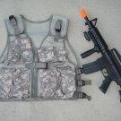 Kids Military Tactical Vest ACU Digital Camo, M16 Toy Machine Gun + FREE Grenade