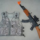 Kids Military Tactical Vest ACU Digital Camo, AK47 Toy Assault Rifle + FREE Grenade