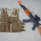 Kids Tactical Combat Vest Army Tan, AK47 Toy Assault Rifle + FREE Grenade
