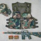 Kids Tactical Vest Woodland Camo, Baseball Cap Woodland Camo, M16 Camo Dart Gun Rifle + FREE Grenade