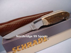 SCHRADE CUSTOM STAG HANDLE  HUNTING KNIFE SHD1