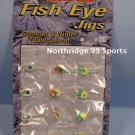 12 Hot Bite Fish Eye Ice Fishing Glow Jigs NEW