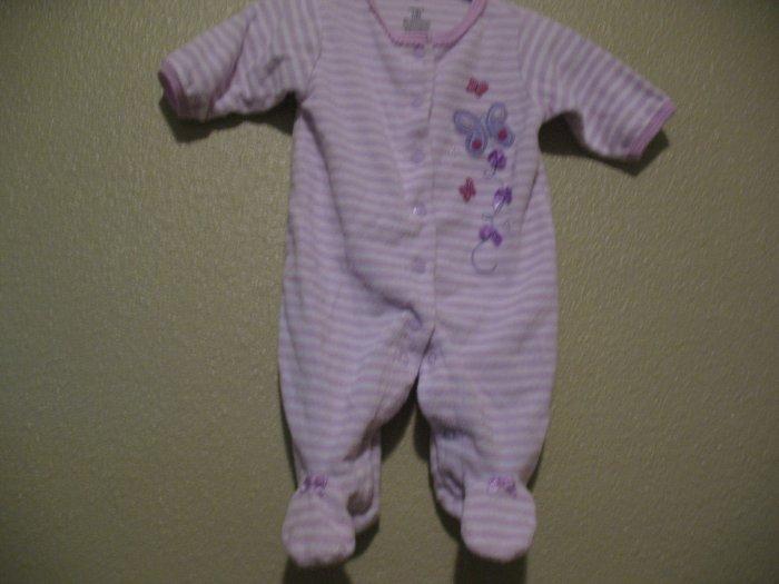 Newborn girls purple sleep and play