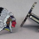 New Twin Set Cufflinks Fun Novelty Quality Enamel 25mm Wild West Indian Chief