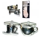 New Folding Hinge Twin Set Cufflinks Fun Quality High Shine Tea Cup Teapot Food