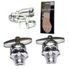 New Folding Hinge Twin Set Cufflinks Fun Quality Metal High Shine Skull Goth