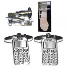 New Folding Hinge Twin Set Cufflinks Fun Quality High Shine Mobile Phone Teens