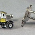 New Twin Set Cufflinks Fun Novelty Quality Enamel 25mm Yellow Tractor Farm Gift