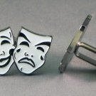 New Twin Set Cufflinks Fun Novelty Quality Enamel 29mm Comedy Tragedy Theatre