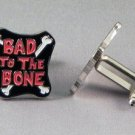 New Twin Set Cufflinks Fun Novelty Quality Enamel 22mm Bad To Bone Gift Music