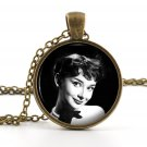 Vintage Audrey Hepburn Pendant - Necklace - Photo Jewelry - American Cinema Film Star Art