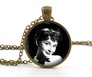 Vintage Audrey Hepburn Pendant - Necklace - Photo Jewelry - American Cinema Film Star Art