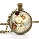 Mucha Pendant Necklace - Mucha Jewelry - Antique Style April Alphonse Mucha Art