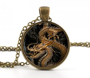Dragon Pendant - Picture Necklace - Antique Style Golden Brown Drake Art - Picture Jewelry