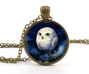 Owl Pendant Necklace - Owl Jewelry - Antique Style Bronze Baby White Owl Bird Art - Picture Pendant