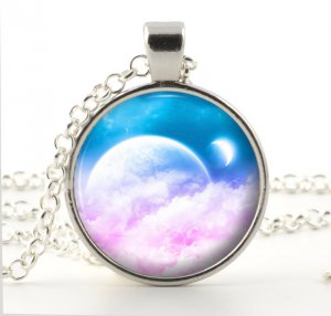 Pink Heaven Pendant Necklace - Dreamy Fantasy Art Jewelry - Silver Heavenly Skies Moon Eclipse
