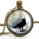 Vintage Raven Pendant -Necklace- Old Antique Spooky Bird and Moon Art Jewellery
