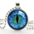 Cat Eye Necklace -Prismatic Blue Eye Art Jewellery- Silver Photo Picture Pendant