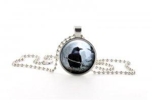 Silver Raven Glass Pendant Necklace - Spooky Halloween Bird Crow Jewellery Gift