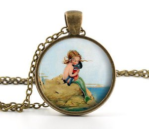 Little Mermaid Necklace Pendant - Vintage Antique Bronze - Classic Cute Girl Art