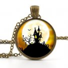Little Haunted House Pendant Necklace Spooky Full Moon Creepy Halloween Art Gift