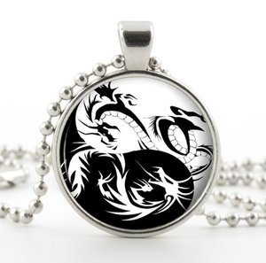 Silver Yin & Yang Dragon Pendant Necklace -Fantasy Chinese Black White Jewelry