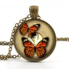 Butterfly Necklace Pendant - Vintage Autumn Color Jewelry - Antique Insect Art